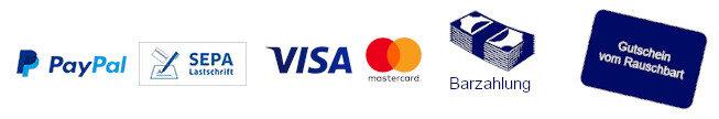 Bezahlmöglichkeiten: Pypal, SEPA Lastschrift, VISA, MASTERCARD, Barzahlung, Geschenkgutschein